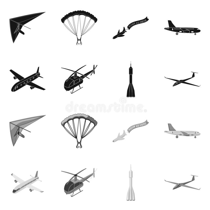 Isolated object of transport and object symbol. Set of transport and gliding  vector icon for stock. royalty free illustration