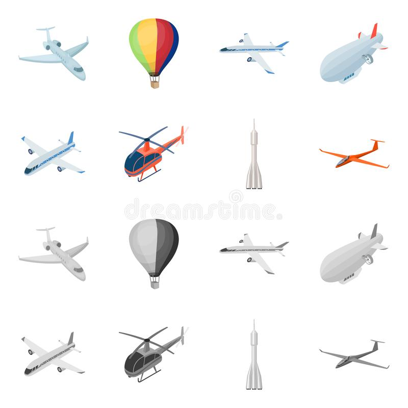 Isolated object of transport and object icon. Collection of transport and gliding vector icon for stock. stock illustration