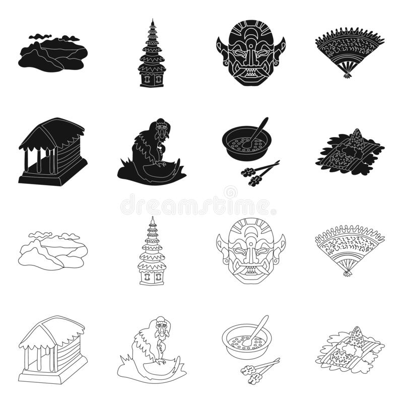 Vector design of and travel icon. Collection of and traditional stock vector illustration. Vector illustration of and travel symbol. Set of and traditional vector illustration