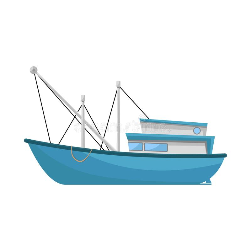 Vector design of trawler and fishery icon. Set of trawler and ocean stock vector illustration. Vector illustration of trawler and fishery symbol. Collection of vector illustration