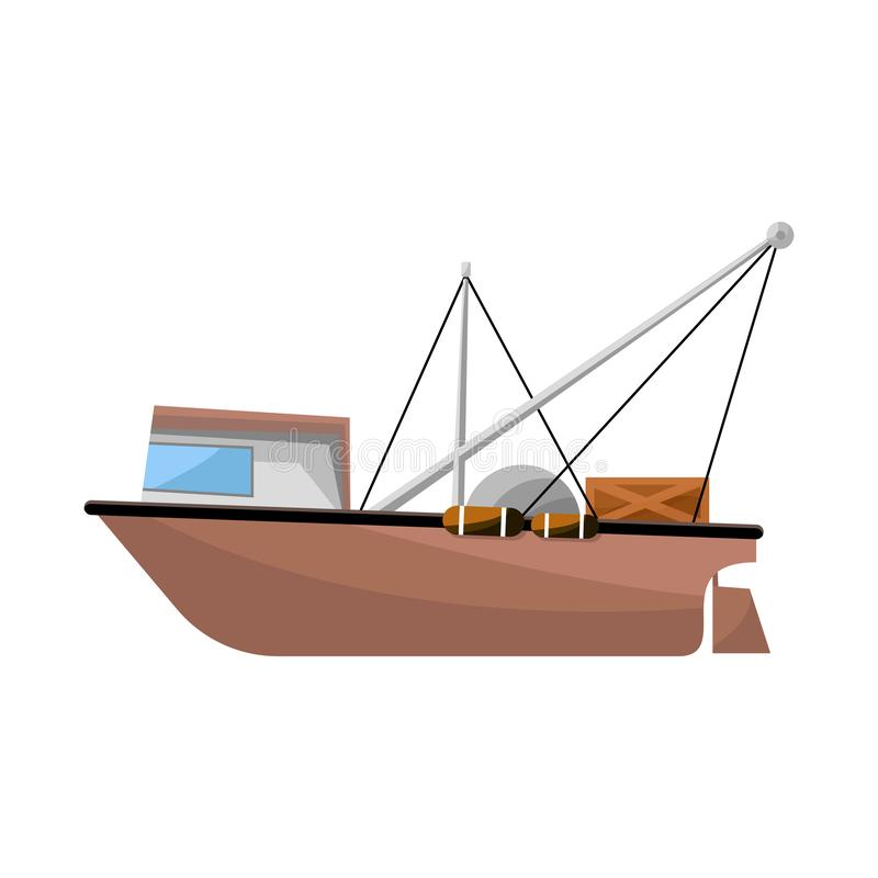 Isolated object of trawler and ocean icon. Collection of trawler and hull stock vector illustration. Vector design of trawler and ocean symbol. Set of trawler stock illustration