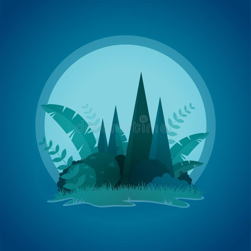 Vector design of tropical little island night landscape stock illustration
