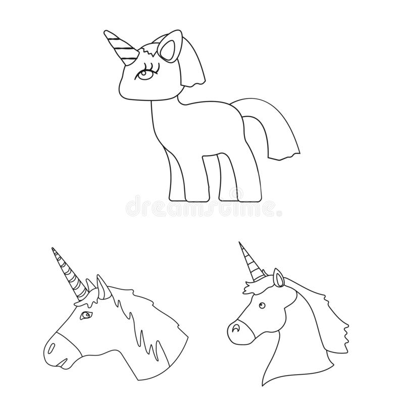 Unicorn Icon In Monochrome Style Isolated On White ...