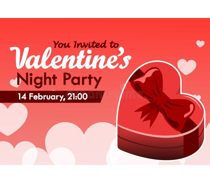 Valentine Day Party Invitation Card Stock Vector - Illustration of ...