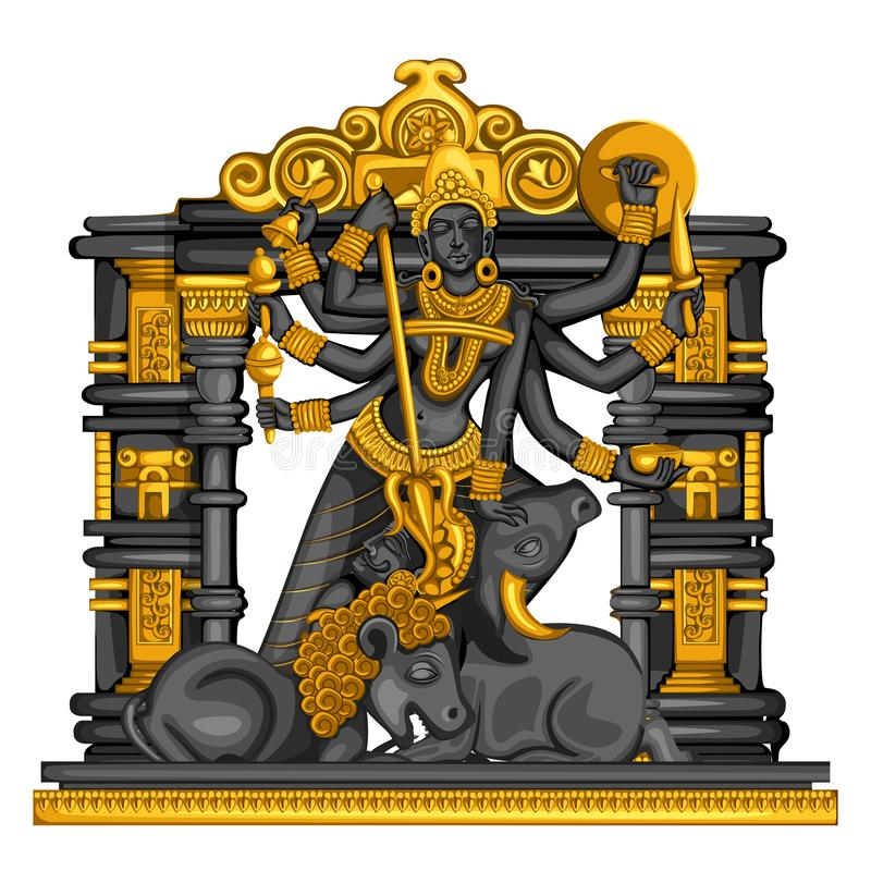 Vintage statue of Indian Goddess Durga sculpture engraved on stone royalty free illustration