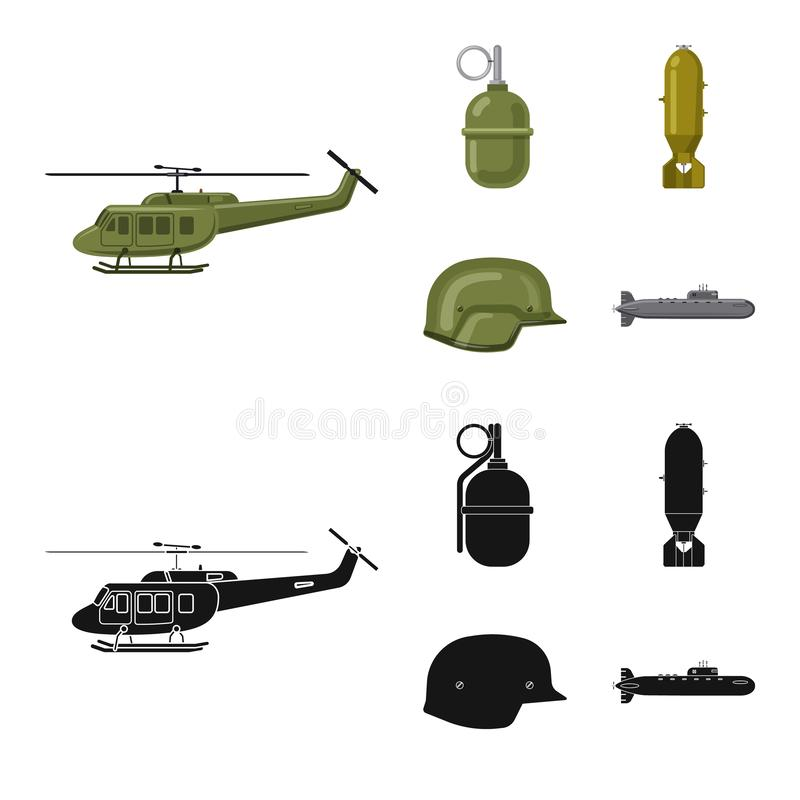 Vector design of weapon and gun symbol. Collection of weapon and army vector icon for stock. Vector illustration of weapon and gun sign. Set of weapon and army royalty free illustration