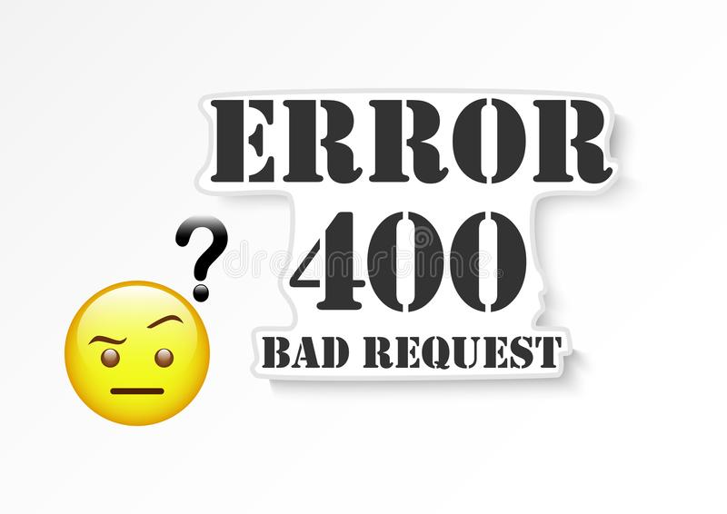 Error 400 bad request. Vector design of website trouble information banner royalty free illustration