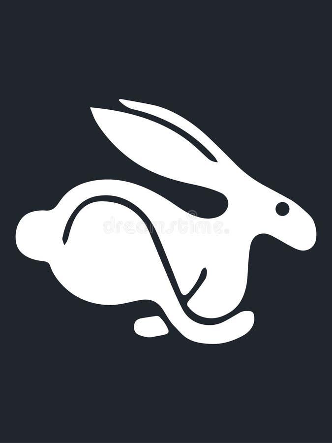 Vector design of white turbo rabbit placed on black background stock illustration