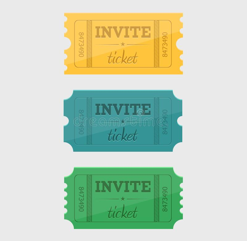 Vector designed cinema tickets close up top view. Isolated on white background royalty free illustration