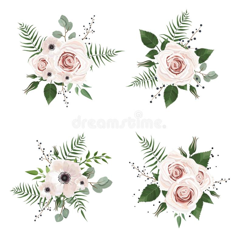 Free Vector Designer Elements Set Collection Of Green Forest Leaves, And Flowers In Watercolor Style. Royalty Free Stock Photo - 112305895