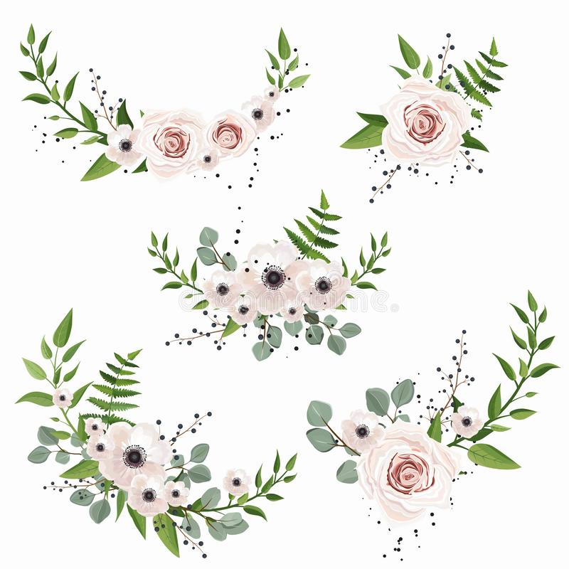 Free Vector Designer Elements Set Collection Of Green Forest Leaves, And Flowers In Watercolor Style. Stock Photos - 139407043