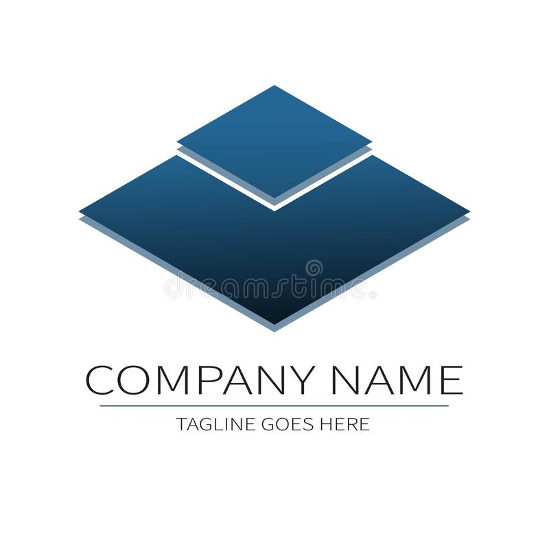 Vector Designschablone für Ihr Firmenlogo, abstrakte blaue Ikone E stock abbildung