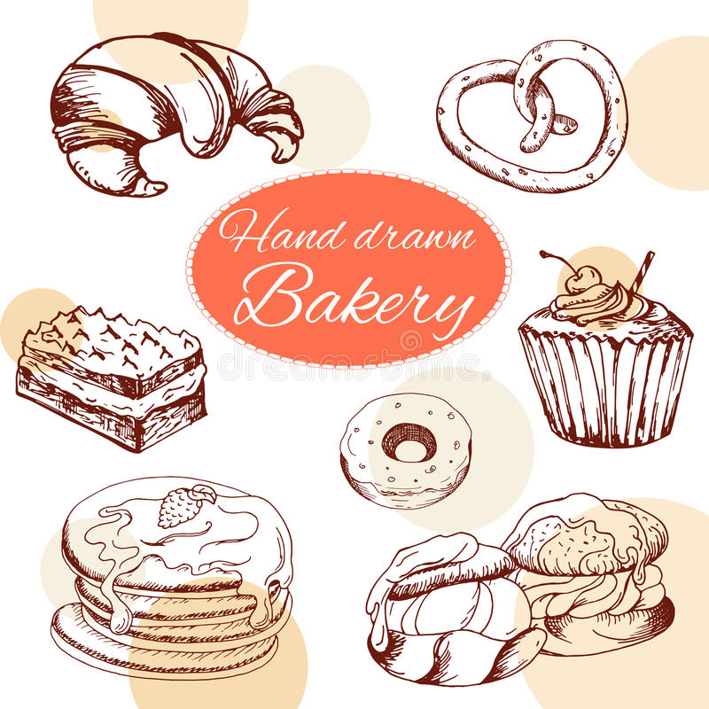 Vector desserts elements in hand drawn style. Delicious food. Art illustration. Sweet pastry for your design in cafe menu, poster royalty free illustration