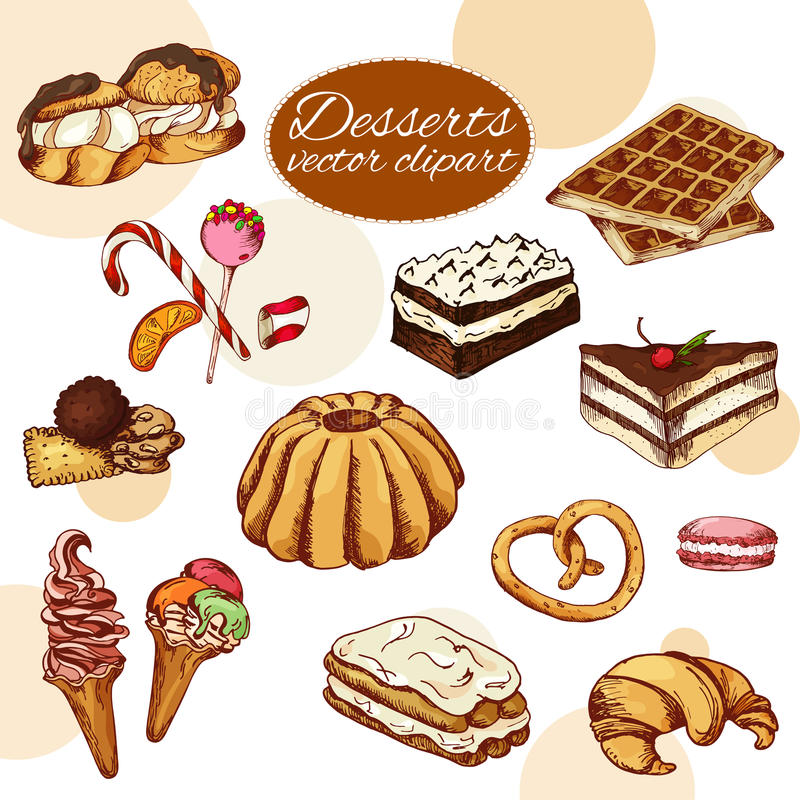 Vector desserts elements in hand drawn style. Delicious food. Art illustration. Sweet pastry for your design in cafe menu, poster. S, brochures royalty free illustration