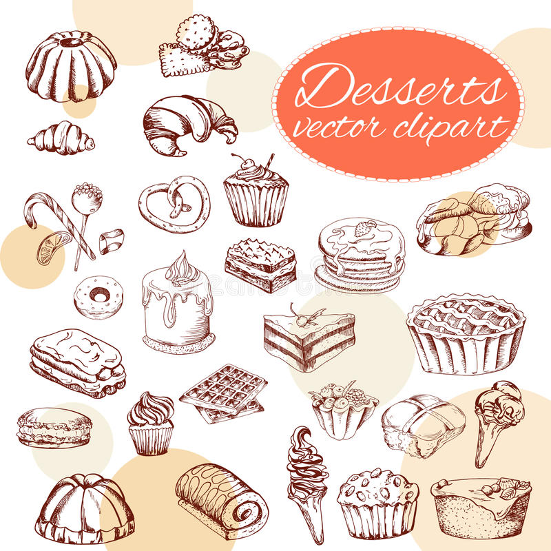 Vector desserts elements in hand drawn style. Delicious food. Art illustration. Sweet pastry for your design in cafe menu, poster. S, brochures vector illustration