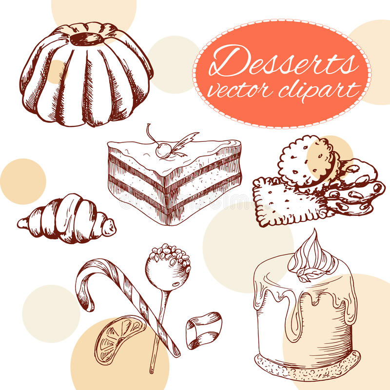 Vector desserts elements in hand drawn style. Delicious food. Art illustration. Sweet pastry for your design in cafe menu, posters, brochures royalty free illustration