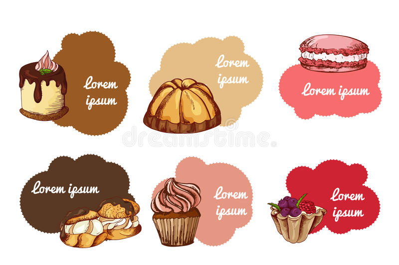 Vector desserts elements in hand drawn style. Delicious food. Art illustration. Sweet pastry for your design in cafe menu. Posters, brochures vector illustration