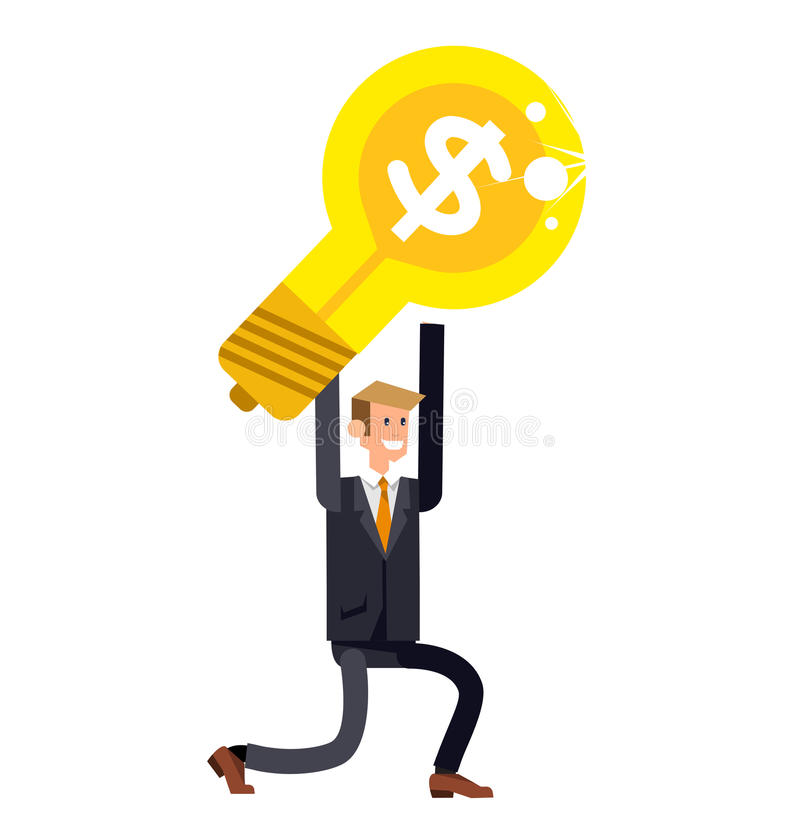 Vector detailed character businessman found a great idea stock illustration