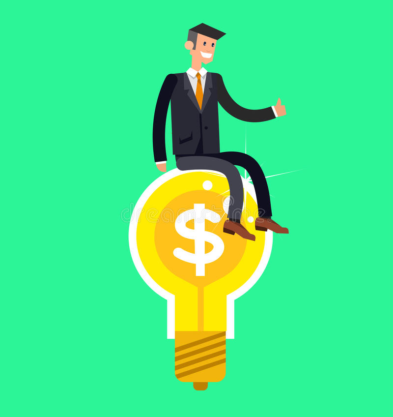 Vector detailed character businessman found a great idea vector illustration