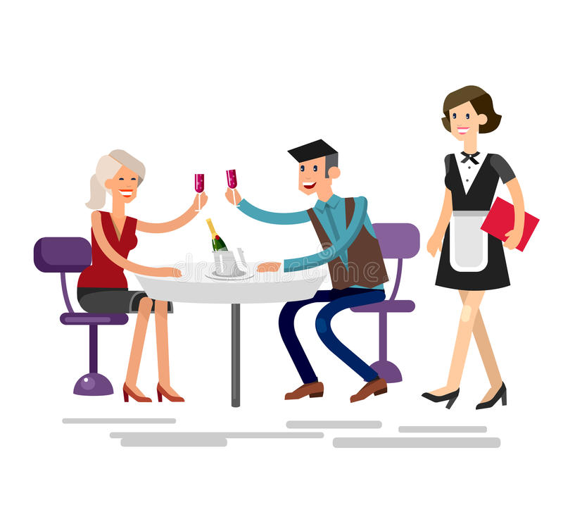 Vector detailed character people in the restaurant. Service for public and personnel, couple celebrating in restaurant royalty free illustration