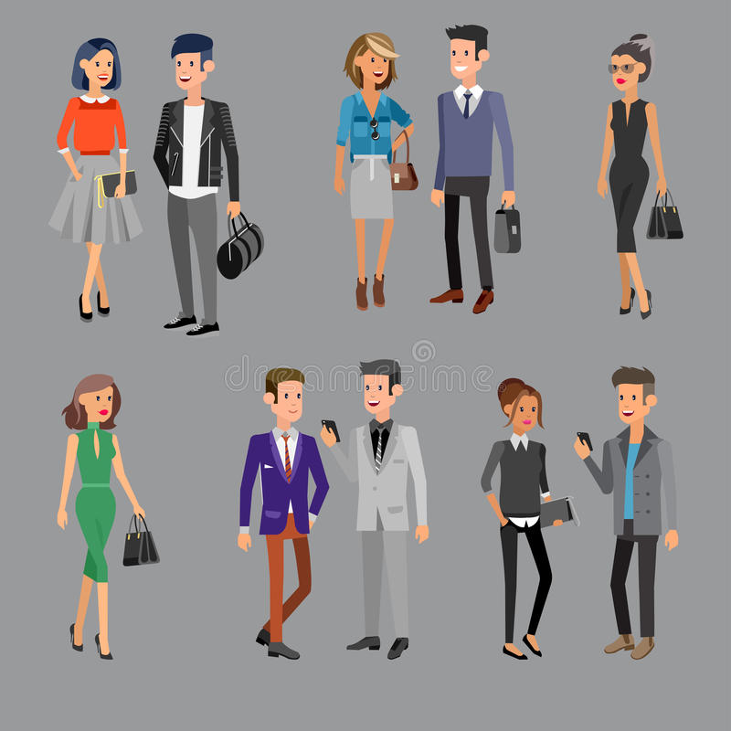 Vector detailed characters people, business. People men and women in action stock illustration