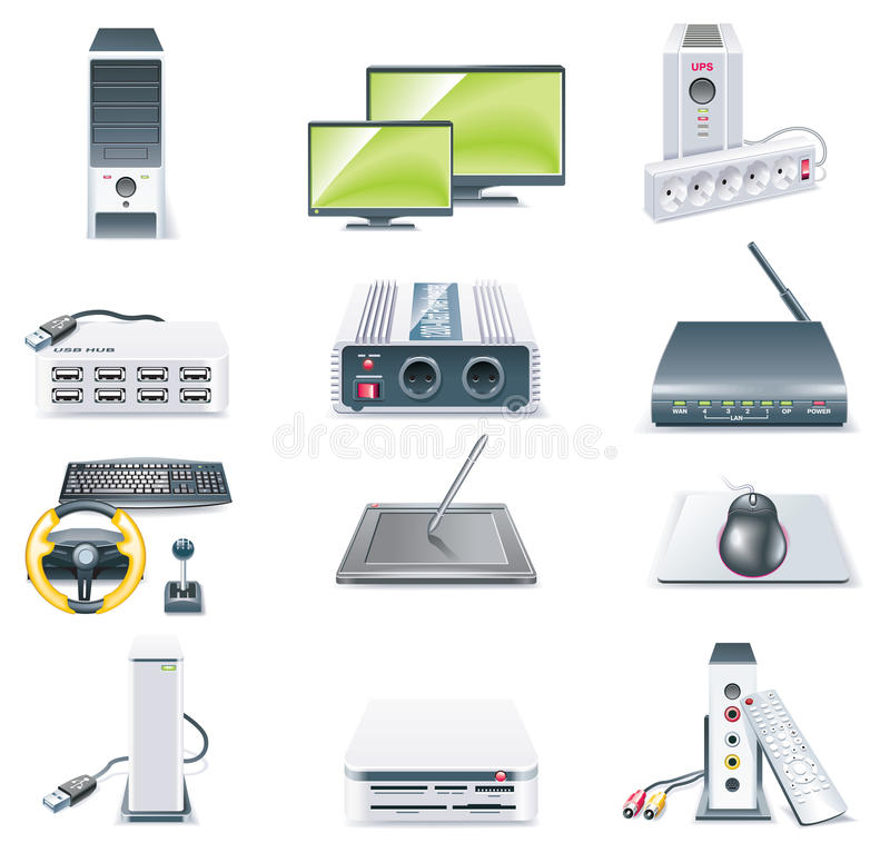 Free Vector Detailed Computer Parts Icon Set. Part 2 Royalty Free Stock Photos - 10016318