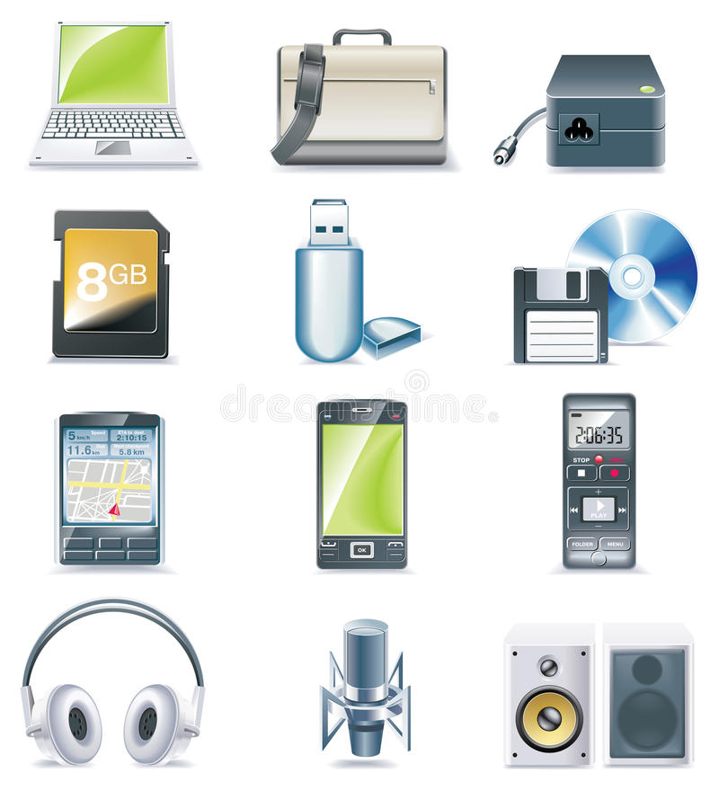 Download Vector Detailed Computer Parts Icon Set. Part 3 Stock Vector - Image: 10025970