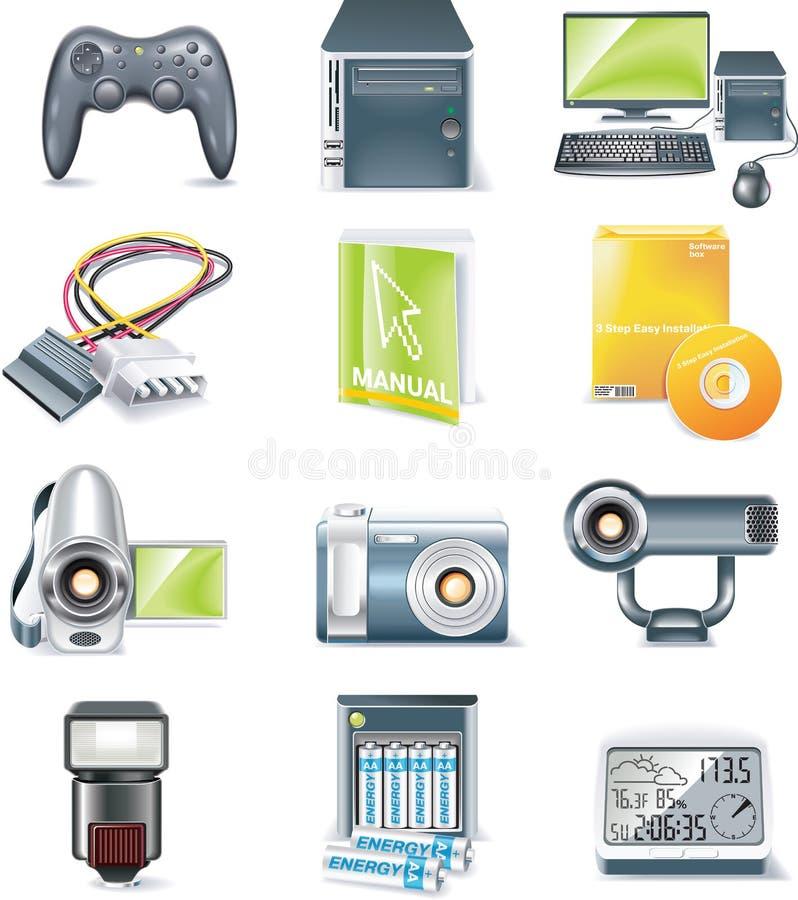Vector detailed computer parts icon set. Part 5. Set of realistic computer components icons vector illustration