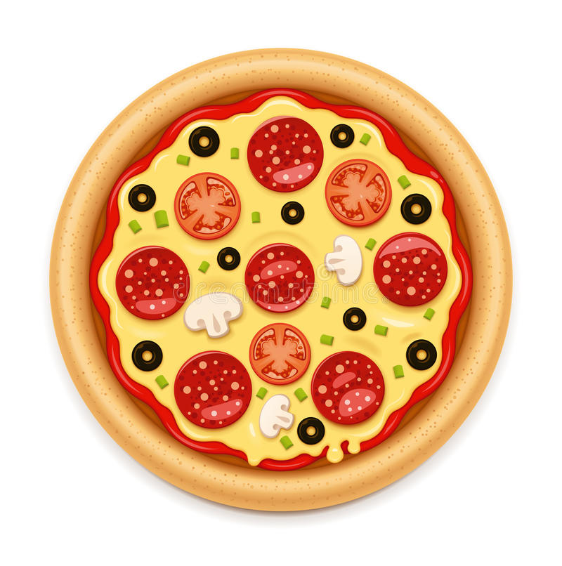 Vector detailed hot pizza with sticky cheese and salami icon vector illustration