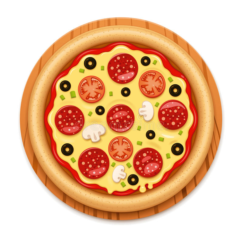 Vector detailed hot pizza with sticky cheese and salami icon. Vector icon representing Italian pizza with salami and tomatoes on wooden cutting board. No meshes vector illustration