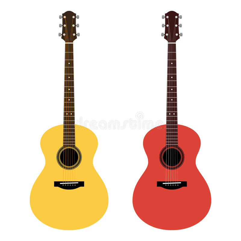 Vector detailed illustration of acoustic guitars in a flat style royalty free illustration