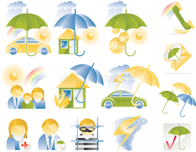 Download Vector Detailed Insurance Icons Royalty Free Stock Images - Image: 8547619