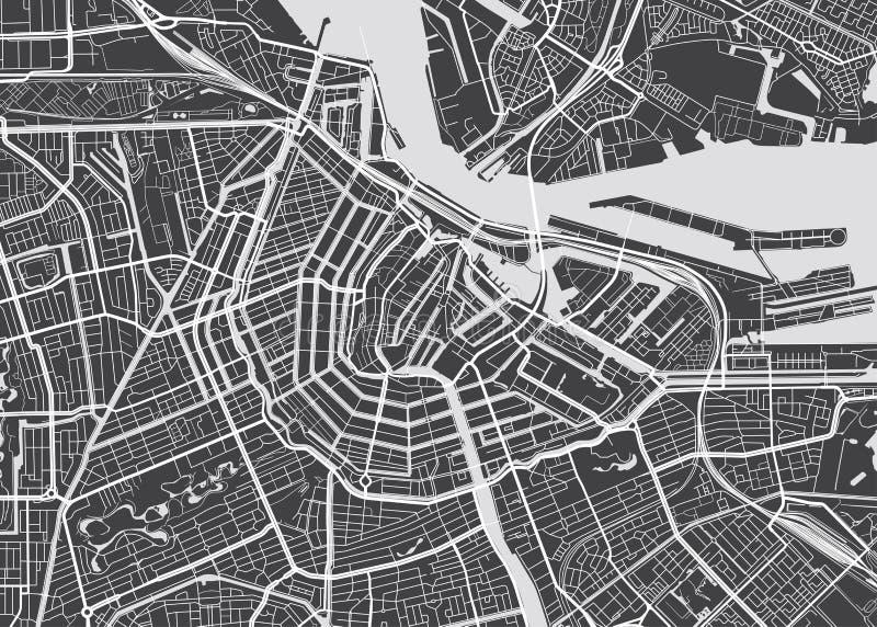 Vector detailed map Amsterdam vector illustration