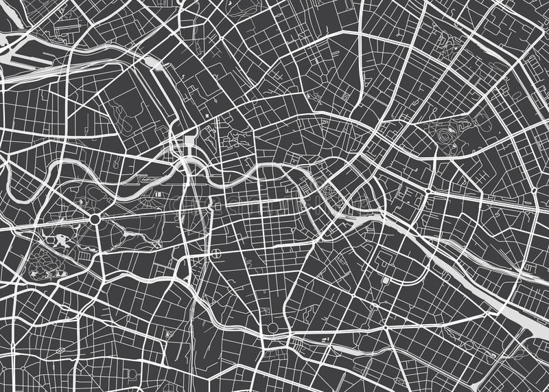 Vector detailed map Berlin. View from above stock illustration