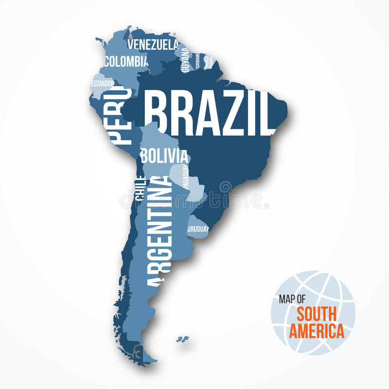 Vector Detailed Map Of South America With Borders And Country