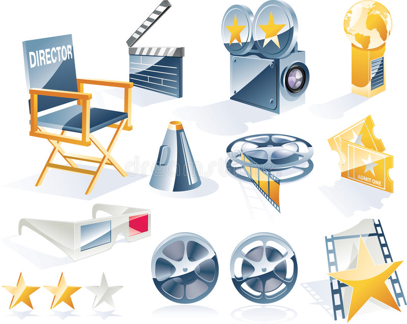 Vector detailed movie icon set royalty free illustration