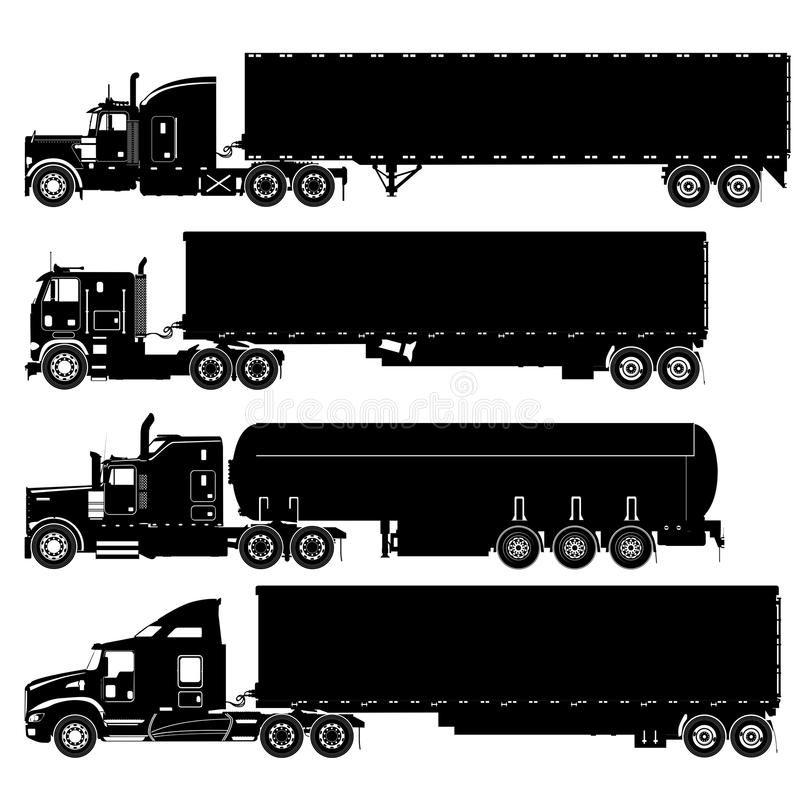 Download Vector Detailed Trucks Silhouettes Set Stock Vector - Image: 22908850