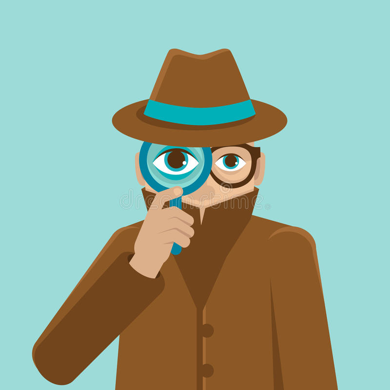 Vector detective illustration in flat style royalty free illustration
