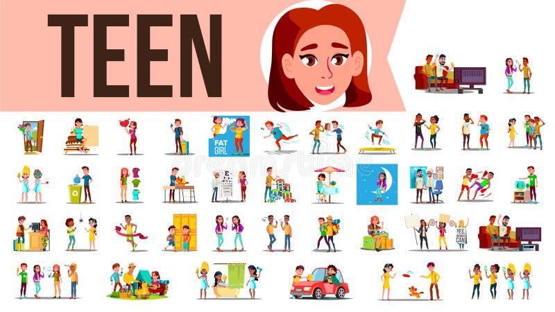 Vector determinado adolescente Tiempo del gasto del adolescente junto en casa, al aire libre Muchacha, individuo Situaciones de l libre illustration