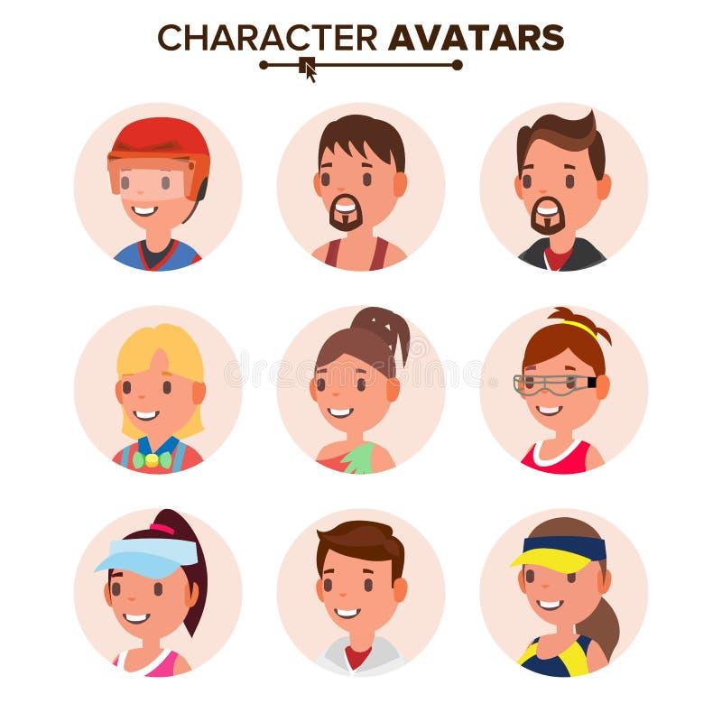 Vector determinado de Avatar de la gente del carácter Cara Placeholder de Avatar del defecto Historieta, Art Flat Isolated Illust ilustración del vector