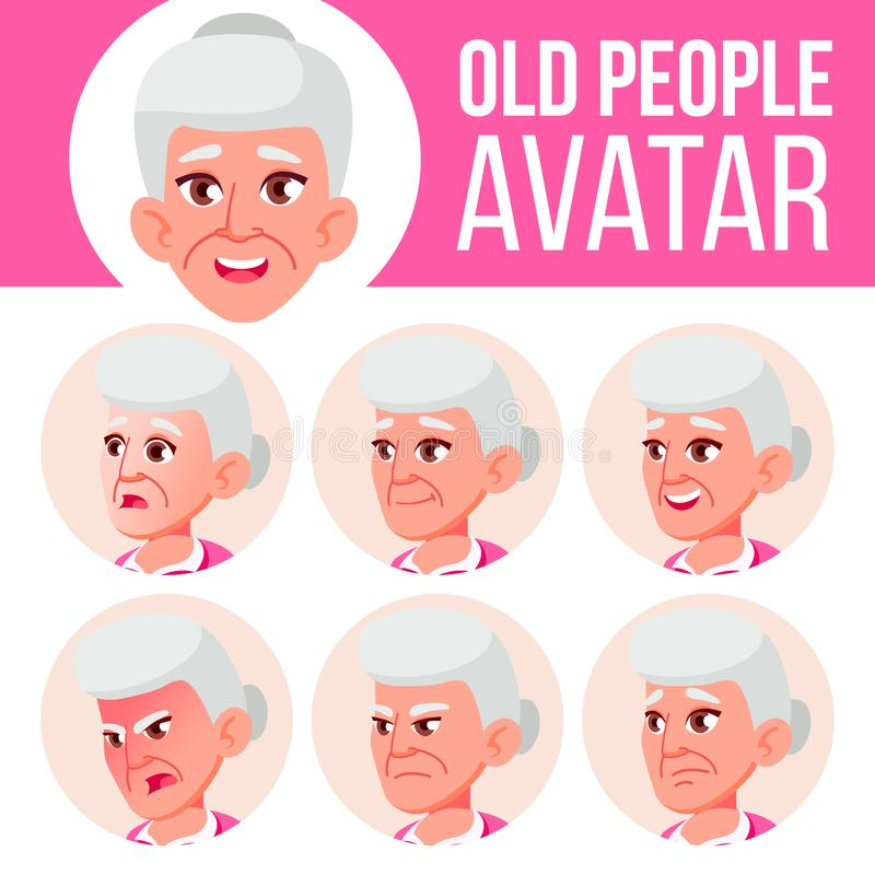 Vector determinado de Avatar de la mujer mayor Haga frente a las emociones Person Portrait mayor Personas mayores envejecido Cabe libre illustration