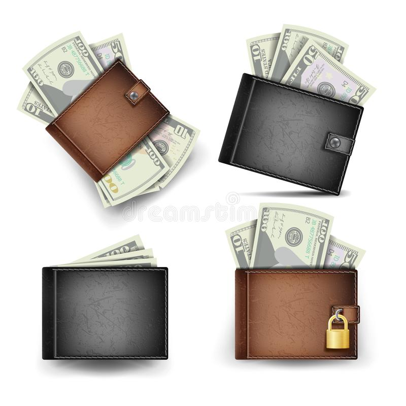 Vector determinado de la cartera Billetes de banco del dólar 3d realista Brown clásico y cartera de cuero negra Cerrado con el ca ilustración del vector