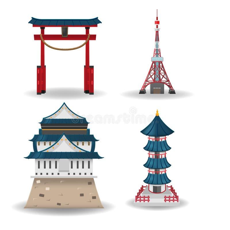 Vector determinado de la colección del edificio del viaje de Japón libre illustration
