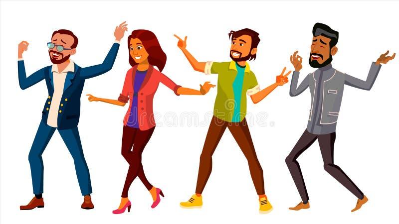 Vector determinado de la gente del baile Mujer activa, hombre Acontecimiento importante Ejemplo plano aislado de la historieta ilustración del vector