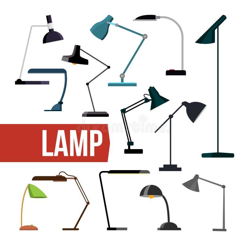 Vector determinado de la lámpara Lámparas modernas de la oficina del escritorio de la tabla Luz moderna creativa de los muebles d stock de ilustración