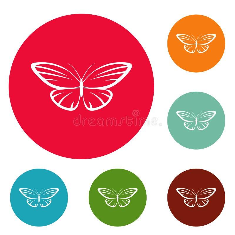 Vector determinado de la polilla del círculo decorativo de los iconos ilustración del vector