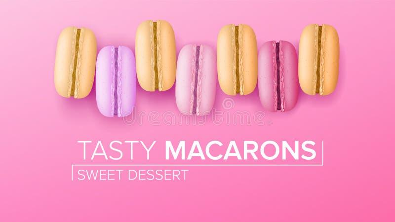 Vector determinado de Macarons Visión superior Macarrones franceses dulces coloridos en el ejemplo rosado del fondo stock de ilustración