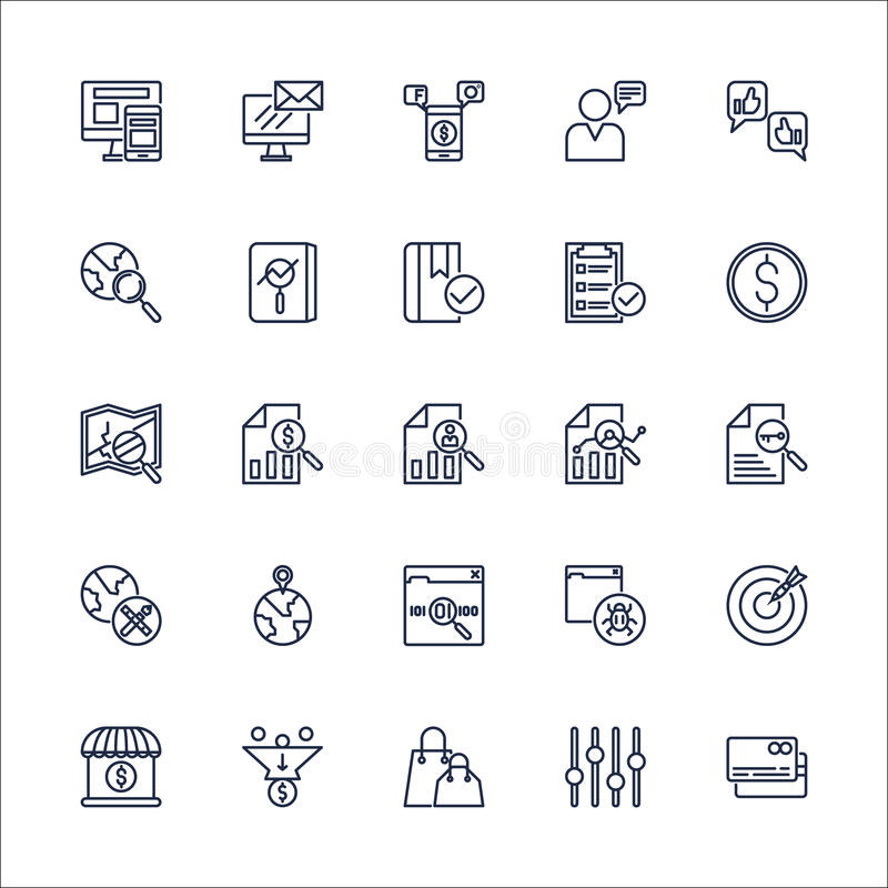 Vector determinado de SEO Outline Icons libre illustration