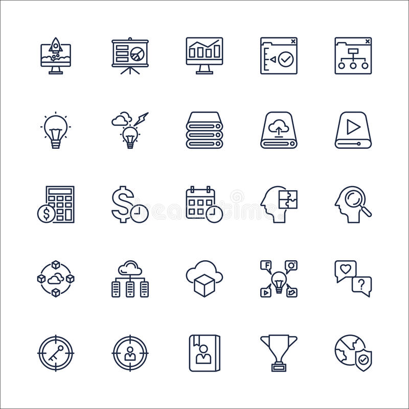 Vector determinado de SEO Outline Icons ilustración del vector