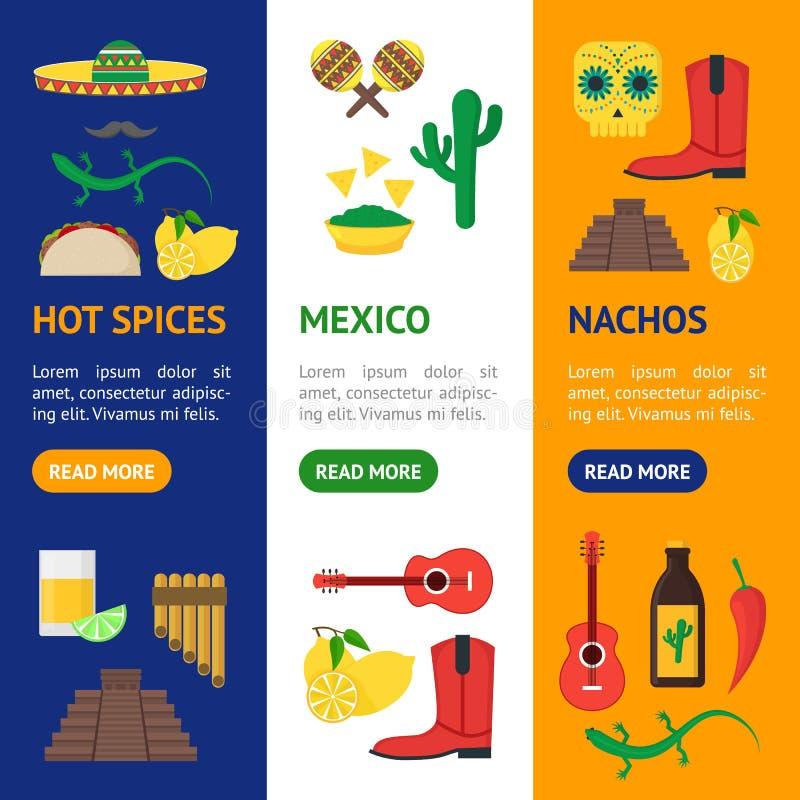 Vector determinado de Vecrtical de la cultura de la historieta de la bandera mexicana del color libre illustration
